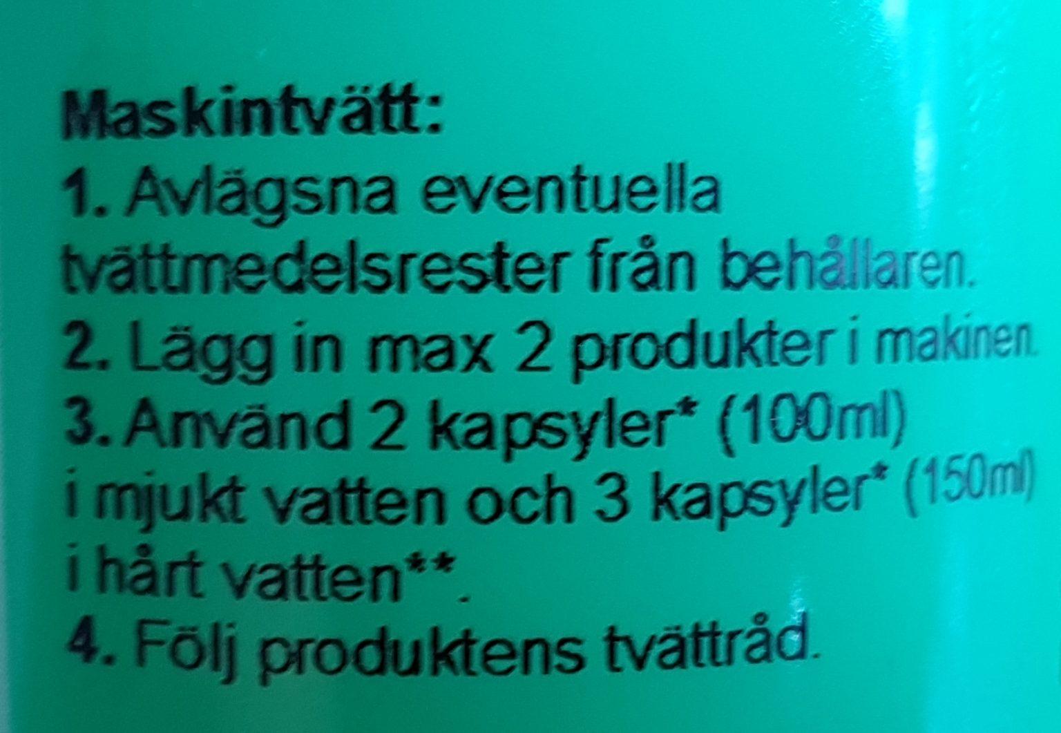 Bild på instruktioner för maskintvätt