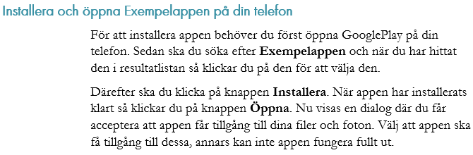 Instruktion som löptext
